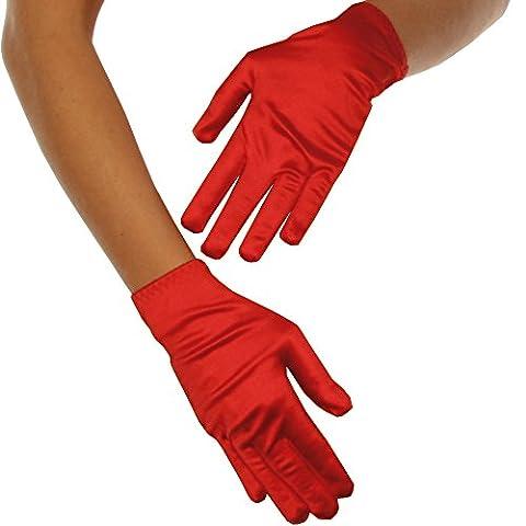 Beautys Love - Satin-Handschuhe kurz - rot