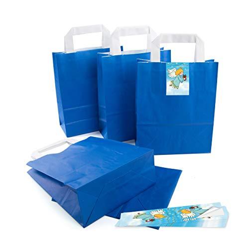 25 kleine ROYAL-blaue Papier-Tüte Geschenk-Tasche mit Henkel Boden 18 x 8 x 22 cm + 25 Aufkleber CHRISTKIND ENGEL orange blau weiß Geschenkverpackung Weihnachten bio Kraftpapier Be-Füllen