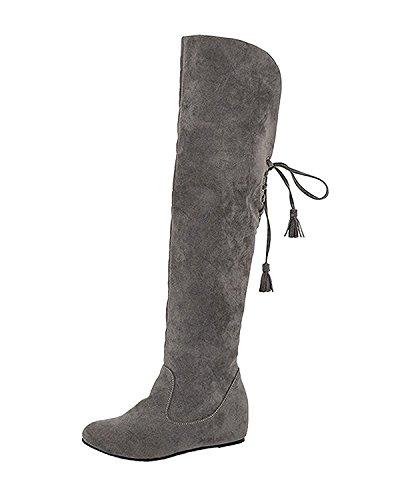 Minetom Damen Winter Warm Schnee Hohe Stiefel Pelzstiefel Flache Schuhe Overknee Stiefel Grau 42 (High Flach Womens Boots)