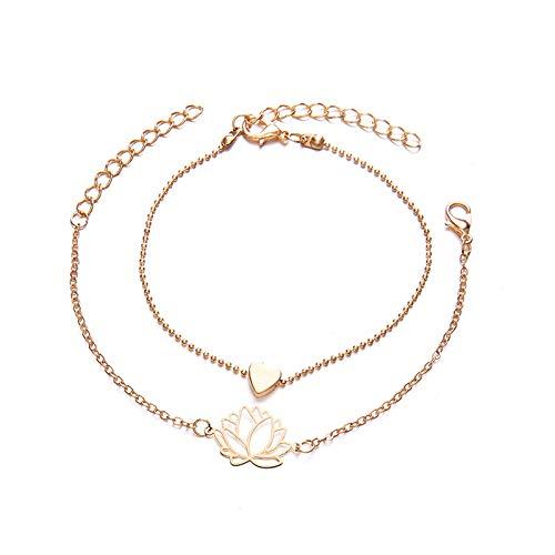QFERW Bracciale 2 pezzi/set Minimalista Oro Argento Colore Piccolo Love Chain Link Bracciale s Per donne Amicizia Love Charm Bracciale s Braccialetti, Oro rosa