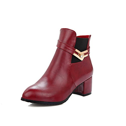 AllhqFashion Damen PU Leder Niedrig-Spitze Rein Ziehen auf Mittler Absatz Stiefel, Rot, 34
