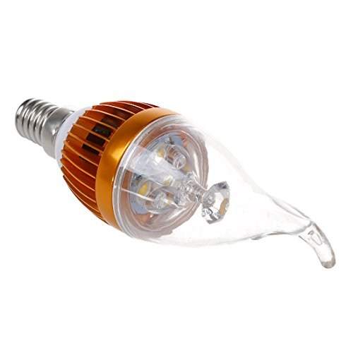 SODIAL(R) E14 3 Bombilla LED de lampara de la vela de blanco calido regulable 3600K AC 220V 3W de alta potencia