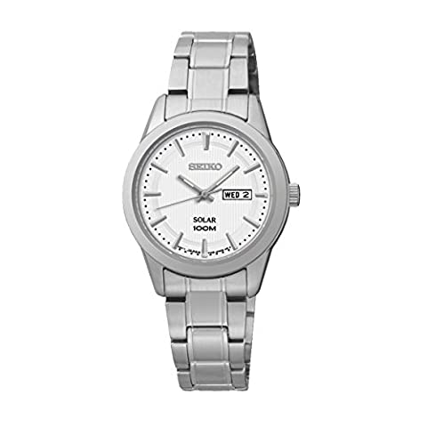 Ladies Womens Stainless Steel Seiko Solar Watch on Bracelet with