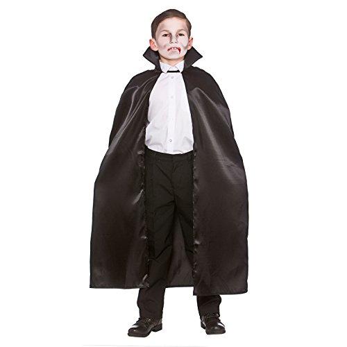 Kinder Unisex Halloween / Karneval Deluxe Schwarz Satin Cape Mit (Stand Up Kostüm Kragen)