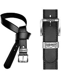 "EyeCatch - Mens Black Faux Leather Lined Belt Black Medium 32-36"""