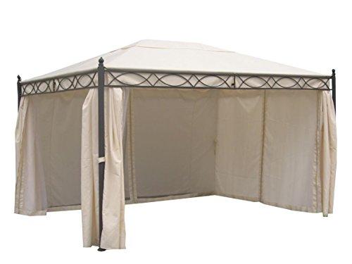 Ambientehome Pavillon Florenz ca. 3 x 4 m Gestell schwarz Dach écrufarben mit Seitenteile und...