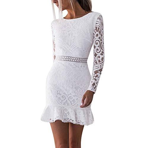 Langärmliges Spitzenkleid,VRTYOC Zurück öffnen Taille Hüfte Slim Fit Minirock Sexy Einfarbig kleid Kleid mit Rundhalsausschnitt Beliebt - Taille Hüften