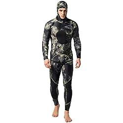 guoxuEE 2pcs Hommes Costume de plongée néoprène 3mm Combinaison de Chasse sous Marine Surf Tuba Maillot de Bain XL