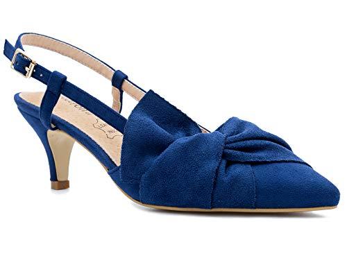 Greatonu Damen Geschlossene Pumps Schnalle Freizeit Streif Schleife Sandalen Blau Exra Breit Größe 38 EU (Blaue Heels Größe 6)