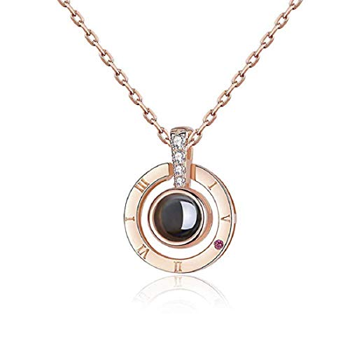 Iamotus love memory zircon crystal necklace jewelry set for women 100 languages i love you pendant rose gold (rose gold)