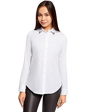 oodji Ultra Mujer Camisa de Algodón con Decoración EN el Cuello