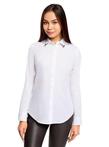 oodji Ultra Damen Baumwoll-Hemd mit Verzierung am Kragen, Weiß, DE 36 / EU 38 / S