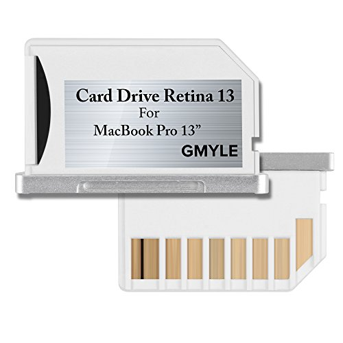 Mini drive Storage, GMYLE Perfect Fit Mircro SD (TF) Flash Memory card Adapter Expansion to SD Slot for Macbook Pro Retina 13 (Not Fit For Macbook Pro)(White)