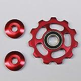 ZengBuks Aleación de Aluminio Rueda de Control 11T Rueda de tensión Rueda de Cambio Trasero Polea guía Guía de Ciclismo en Bicicleta Accesorios - Rojo