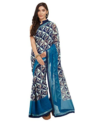 MirchiFashion Frauen Faux Georgette überprüft gedruckten Saree (8481_Blue) Faux Georgette Saree