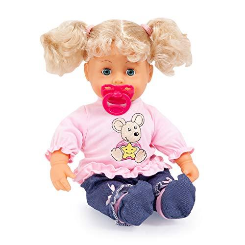 Bayer Design 93813AA Funktionspuppe Interactive Baby 38cm, Weichkörperpuppe, mit Schlafaugen, Macht 12 Babylaute, Blonde Haare (Puppe Mit Haar)