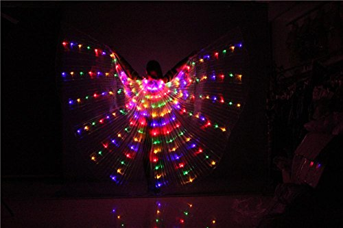 Frauen Belly Dancing Isis Wings LED Light multicolor 360 Grade mit Shrink Stick Butterfly Requisiten Performance Professional Outfit Kostüm , 1# , (Kostüme Verkauf Arabische Zum)
