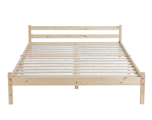 GreenForest Double Bed Frame 4ft6 Pine Wooden Bed Large Under Bed Storage Space with Headboard Pine Color