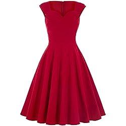 Vestidos Rojos Fiesta Noche Vintage Años 50 para Mujeres YF125-2 S