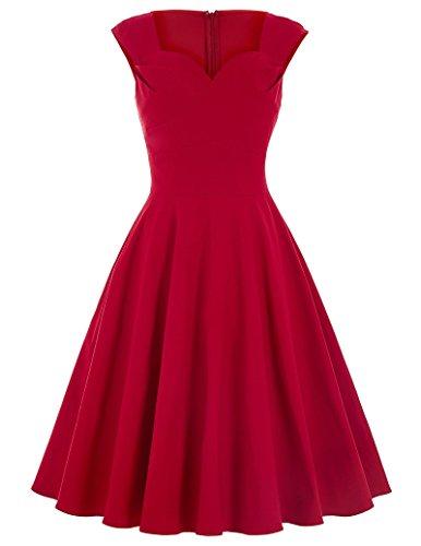 GK Vintage Dress Vestido - Noche - Sin mangas - para mujer Stil 1 :Rot Medium