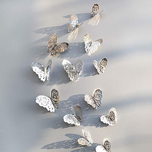 Tohole 3D Schmetterling Spiegel Wandaufkleber 3D-Style in 12 Stück Wanddekoration mit Klebepunkten Fixierung Wandtattoo Aufkleber im Wanddekoration mit Klebepunkten zur Fixierung (Silber C, 12Stk) -