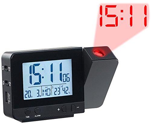 infactory Projektionsuhr: Projektions-Funkwecker, Thermo-/Hygrometer, 2 Weckzeiten, USB-Ladeport (Funk Projektionsuhr)