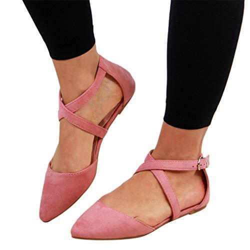 Sommer Halbschuhe für Damen/Dorical Frauen Kreuz Riemchensandale Pointed Toe Sexy Sandalen, Flach mit Schnallen Damenschuhe Mode einfache Wildleder Schuhe 35-43 EU Ausverkauf(Rosa,39 EU)