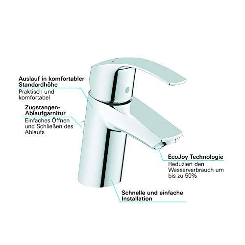Grohe Eurosmart Waschtischarmatur, mit Zugstange, S-Size, Wasserhahn, Armatur, Waschtischarmatur, Waschbecken, Mischbatterie, Wasserkran (33265002) - 4
