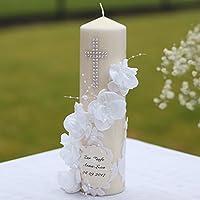Taufkerze Kommunionkerze Kerze zur Taufe Konfirmation Blumen Handarbeit binnbonn