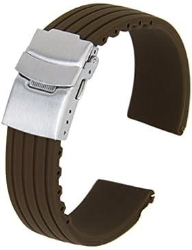 Gleader Silikon Uhrenarmbaender Kautschuk Armband Band Faltschliesse Wasserdicht 20mm Kaffee