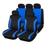 upgrade4cars Coprisedile Auto Blu Nero Universale | Set Copri-sedili Universali per Anteriori e Posteriori | Accessori Auto Interno