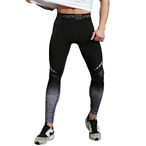 SEVENWELL Kompression Cool Trockene Sport Strumpfhose Hose Baselayer Laufen Leggings Yoga Rashguard Männer Männer Schwarz + Grau S(US)=Tag L(Asiatisch)