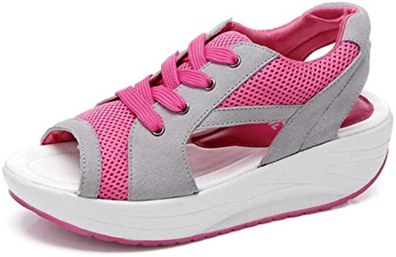 Sandalias Ocasionales de Las Mujeres de Espesor Inferior Aumentaron sacudir los Zap Zapatos de Malla Tamaño 35-40