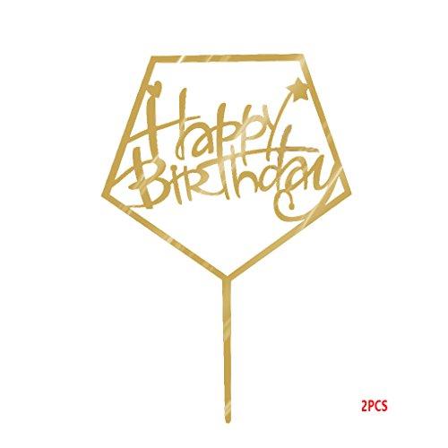 Lorjoy Alles Gute zum Geburtstag Brief Acryl Gold-Funkeln DIY Glitzer-Kuchen-Kuchen-Deckel-Smash-Kerze-Partei Handmade-Stick