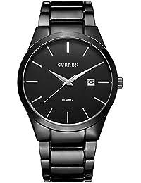 1e2d62fb0672 Curren 8106 marca de lujo para hombre relojes resistente al agua de acero  negro Business macho reloj de pulsera…