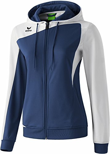 erima Damen Top Langarm Club 1900 Trainingsjacke mit Kapuze, New Navy/Weiß, 40, 107462