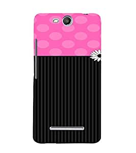 PrintVisa Cute Flower Dots & Stripes Pattern 3D Hard Polycarbonate Designer Back Case Cover for Micromax Bolt Q338
