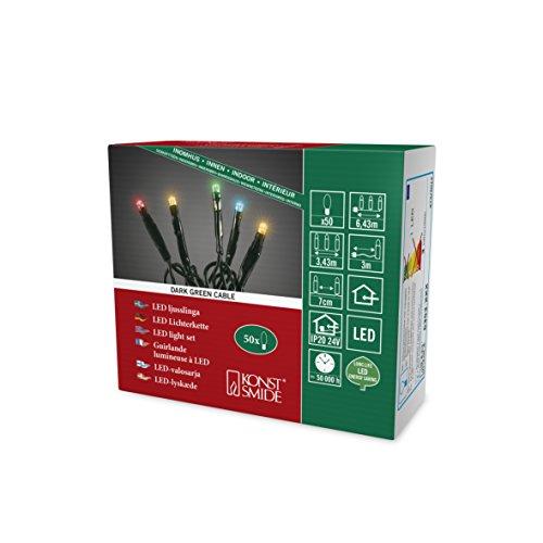 Konstsmide 6353-520, Micro LED Lichterkette/für Innen (IP20) / 24V Innentrafo / 50 bunte Dioden/schwarzes Kabel