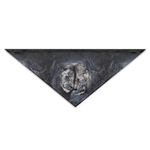 Wfispiy Space Galaxy Nebula Lion Moon Dog Bandanas Scarves Triangle Bibs Scarfs Stylish Basic Neckerchief Cat Collars - Remote-bark Hund Collar