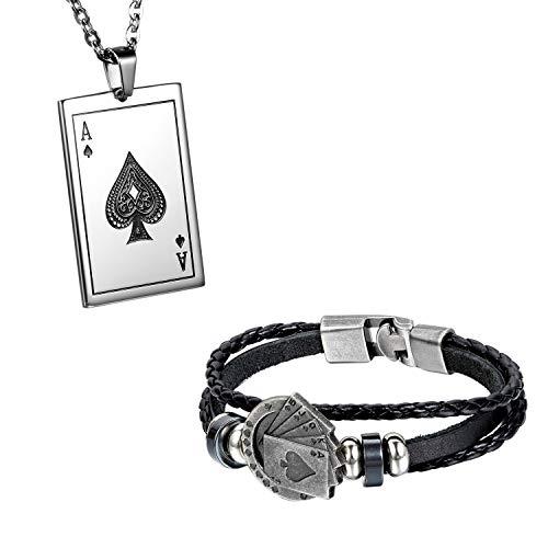 Flongo Herrenarmband Lederarmband Herren-Kette Männer Anhänger Männer Armband, Herren Armreif Leder Armband Anhänger Halskette mit Spielkarte Royal Flush Poker Karten Set Schwarz