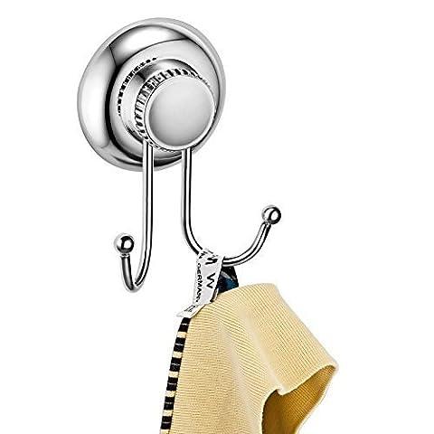 Delex Tenue forte No-drilling/ventouse Crochet pour peignoir–Vaccum System–en acier inoxydable NE Rouille pas–pour salle de bain et cuisine, Double Robe