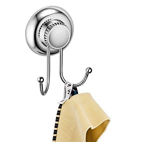 Delex sujeción fuerte no-drilling/ventosa solo gancho–Vaccum sistema–acero inoxidable oxidación–para baño y cocina, Double Robe