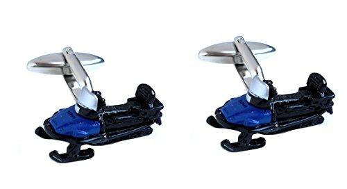 Unbekannt Manschettenknöpfe Schneebob Schlitten schwarz blau silbern farbig + blauer Krokoimitatbox