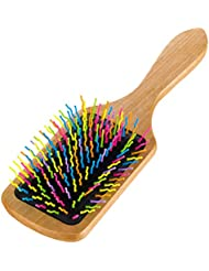 SUPVOX Bambus Haarbürste Natürliche Regenbogen Kamm Haar Paddle Brush Haarkamm Massagekamm Holzkamm zum Entwirren