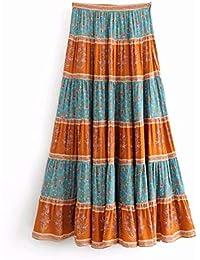 602dc458e2 Mujer Faldas Moda de Verano Hippie Mujeres Costura Bohemio Estampado Floral  Playa Falda Larga Cintura Alta elástica A-Line Boho Maxi…