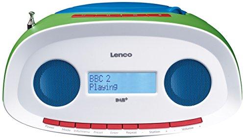 Lenco Digitalradio SCD-70 DAB Kinderradio mit CD-Player und USB, Batteriebetrieb möglich (DAB, DAB+, UKW-Tuner, RDS, MP3-Wiedergabe, Kopfhöreranschluss, AUX), bunt