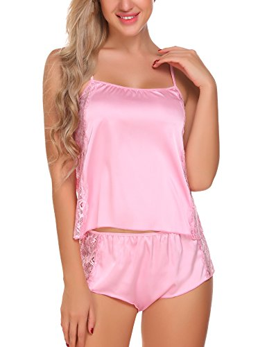 ADOME Damen Negligee Sexy Satin Nachtwäsche Dessous Set Kurz Schlafanzüge Träger Nachthemd Babydoll Rückenfrei Pyjama mit Spitze Rosa
