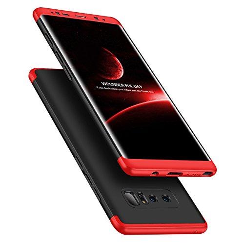 JEPER Samsung Galaxy Note 8 Hülle 3 in 1 Ultra Dünner Harte Case 360 Grad Ganzkörper Schützend Anti-Kratzer Anti-Dropping PC Cover Schutzhülle für Note 8 Galaxy (Samsung Galaxy Note 8, Red+Black)