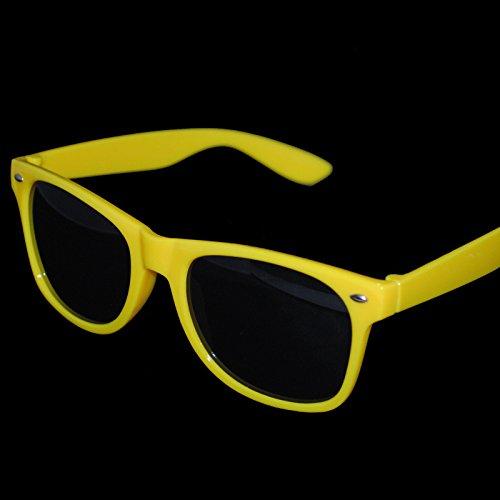 Gelb Damen Herren Sonnenbrille Wayfarer Aviator Style Neon 80er Retro Fashion Shades UV48