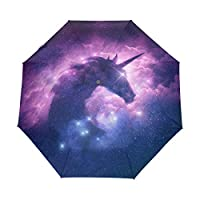 Funnyy Automatic Folding Umbrella Animal Nebula Unicorn Galaxy Auto Open Compact Portable Travel Umbrella for Girls Boys Women
